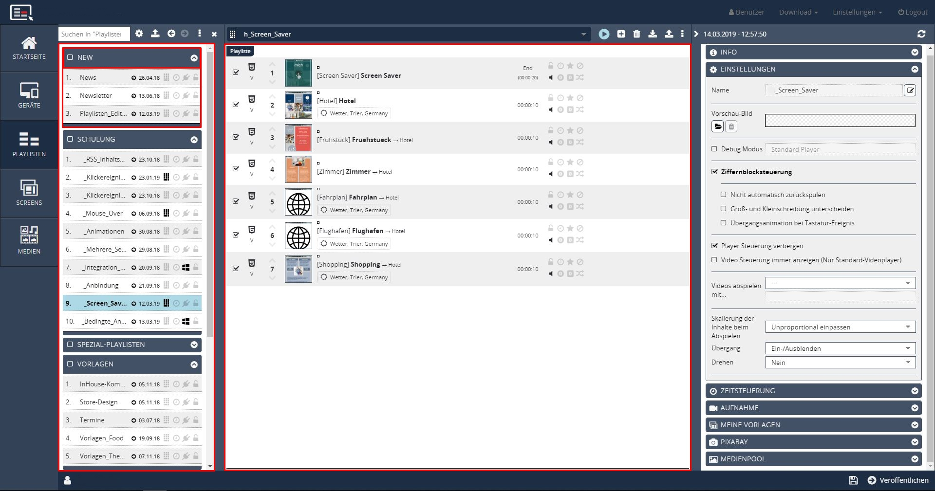 digital signage Playlistenverwaltung markiert