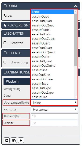 Screen Editor Animationseffekte Abstand Schleife Übergangseffekte