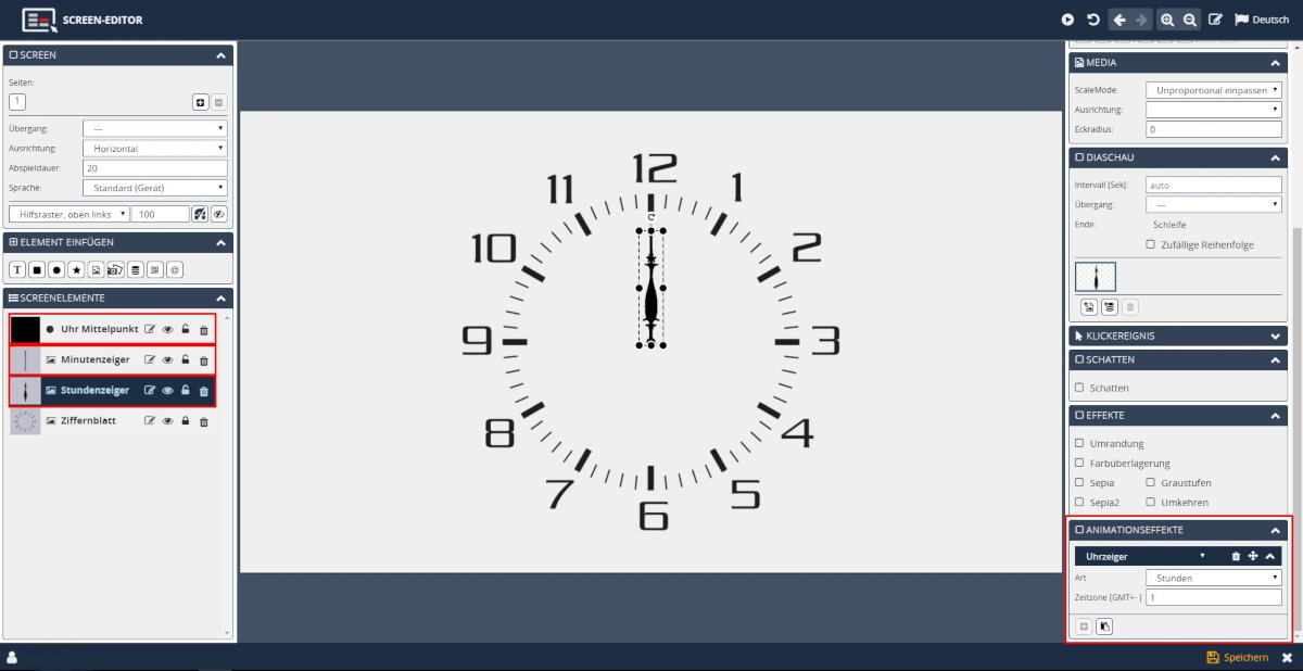 Digital Signage Uhren designen und animieren