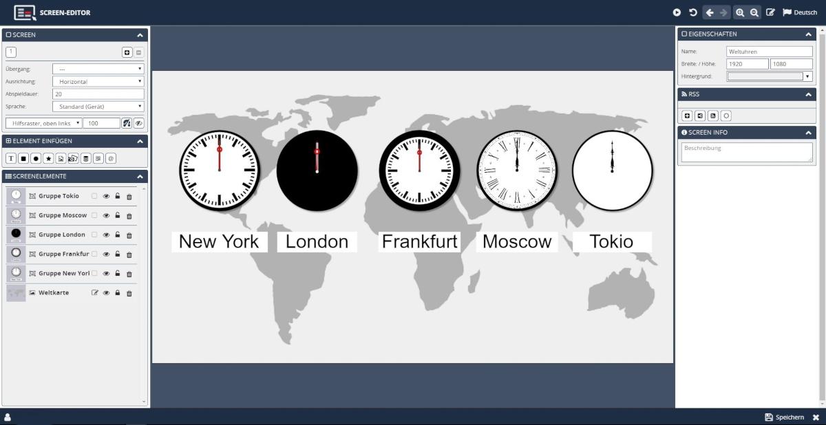 Weltuhren Screen Editor Animationen animierte Uhren designen
