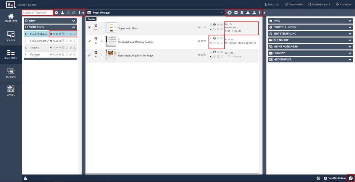 Screen Editor HTML5 Playlisten Verwaltung