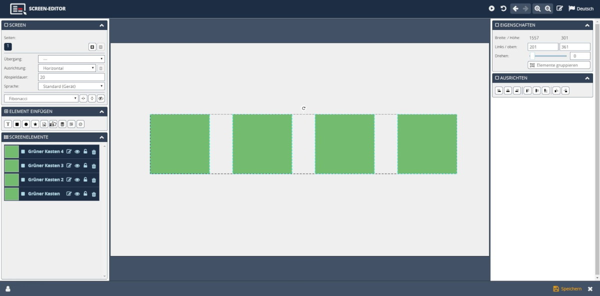 Template Designer Screen Editor ausgerichtete Elemente