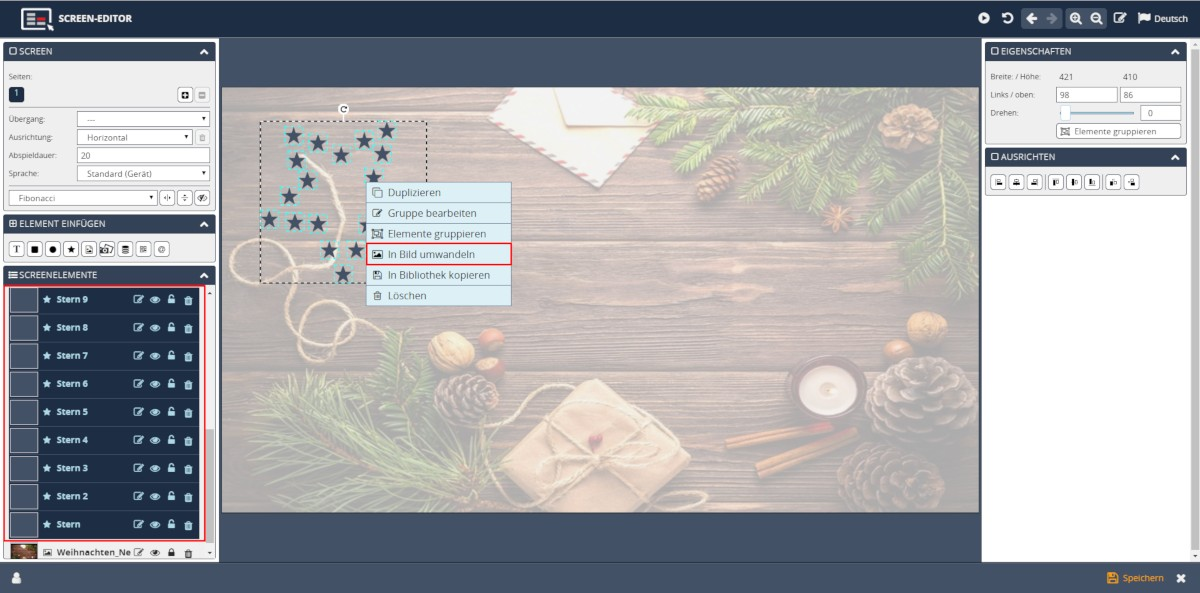 Digital Signage Template Designer Bitmap erstellen