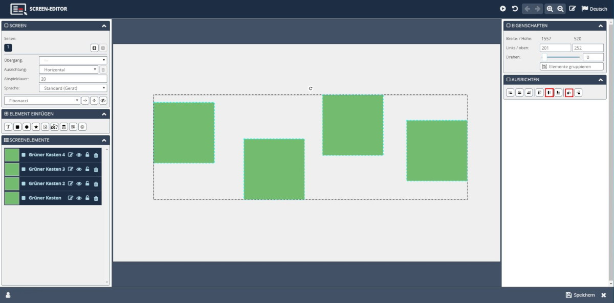 Screen Editor Template Designer Elemente ausrichten
