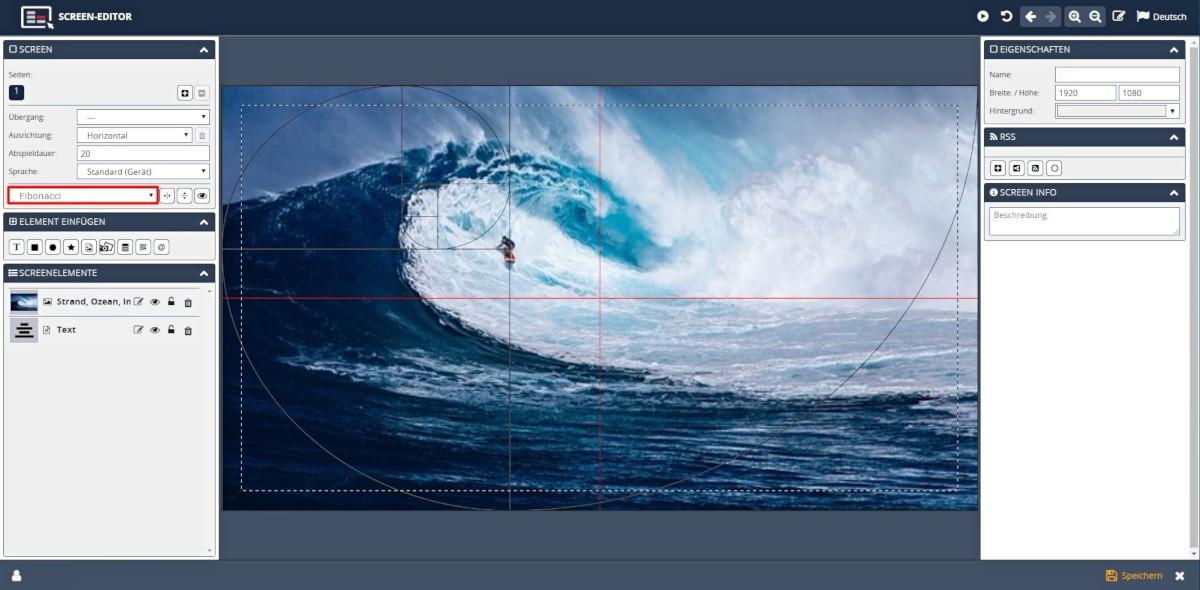 Digital Signage Software Ausrichtung Goldener Schnitt Fibonacci Spirale