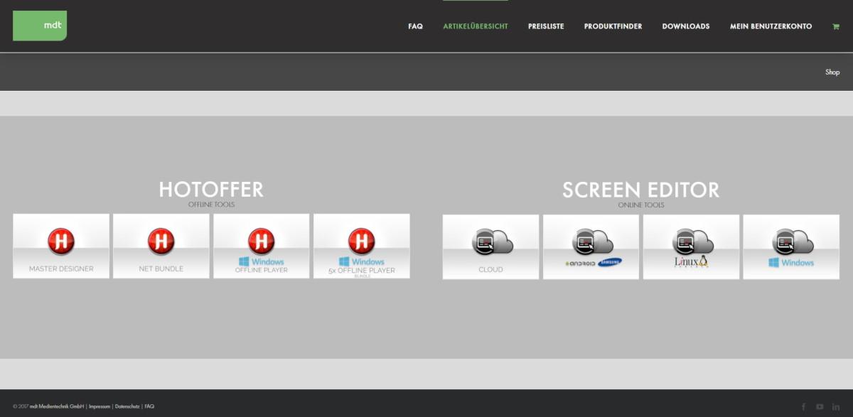 MDT Bestellshop Digital Signage Lösungen