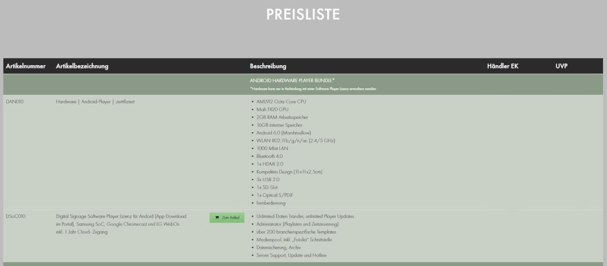 MDT Bestellshop Preisliste