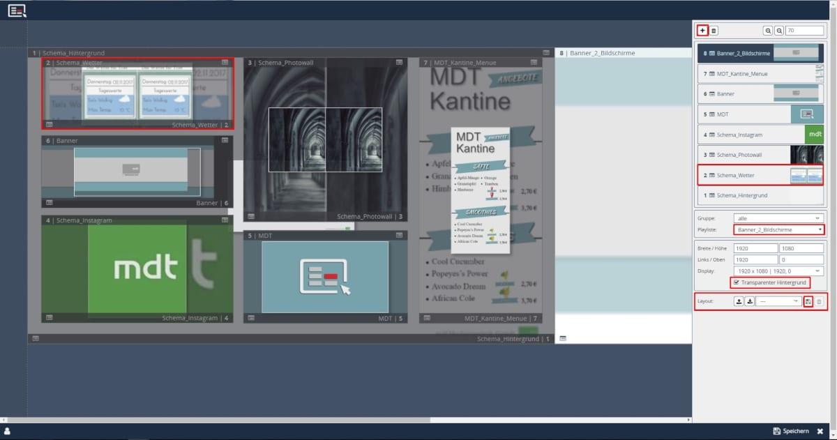 Screen Editor Geräte Schema Layout Kacheln