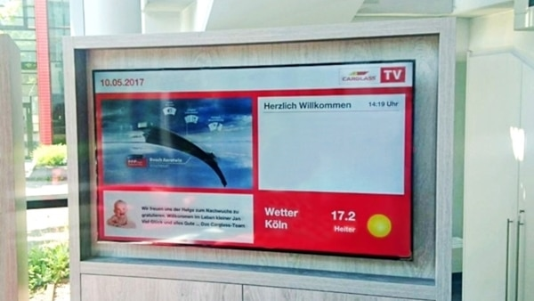 Digital Signage by mdt Medientechnik Wartelounge Carglass TV